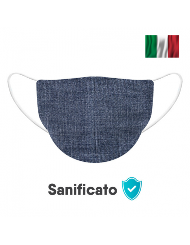 Mascherina made in italy 100% cotone effetto jeans